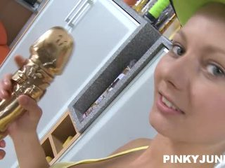 Teenaged And Horny Teen Pinky June Presents Off Her Shaved Pinky Labia