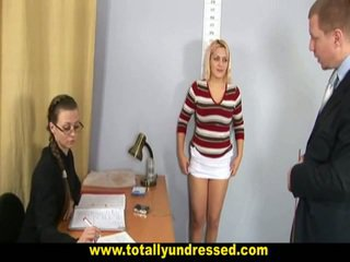 Humiliating Undressed Job Interview For Big Titted Blonde Secretary