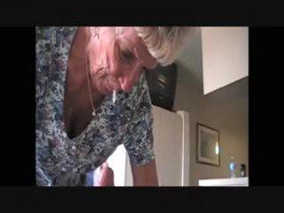 Granny magda enjoying a milky cock treat....
