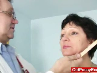 Unshaven housewife Eva visits gyno doc fuck hole i