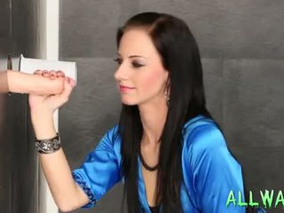 Two Messy Gloryholes For One Babe