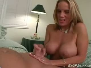 Ex girlfriend with big tits takes wild cum on her face