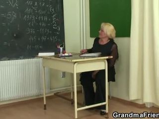 Two Lucky Students Have Funtime Near Aged Lecturer