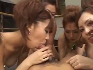 6 asian chicks on one dude