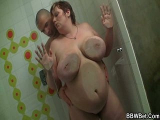 Large BBW Gives Head And Has Banged Inside The Shower