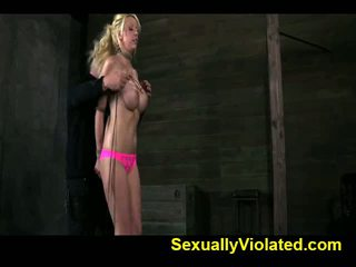 Stacked blonde slut gets tied and face fucked