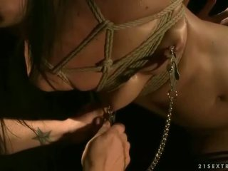 Hot brunette gets tied up and fucked hard