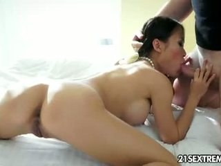 21 Sextreme: Vietnamese brunette Pussykat sucks a hard cock