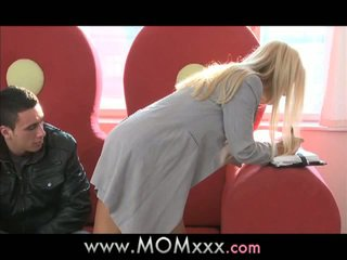Blonde babe fucks hard with hunk property client