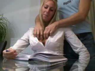 Real wife plays his horny secretary