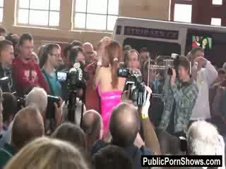 Big breatsed Red head stripper gets her pink tight Pussy toyed in front of a crowd