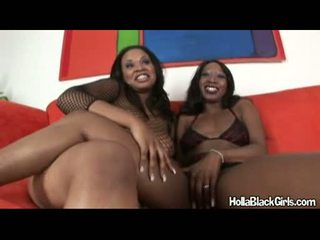 Breasty Dark Honeys Stacey Cash And Friend Gets Nasty Hot Together On The Couch