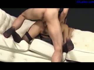 Busty Secretary In Sexy Stockings Fucked By Her Boss Cum To Ass On The Couch In The Office