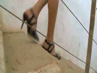 Watch brunet russian in shoes Piss