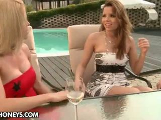 Lezbo Honeys: Hot pool party with lesbian friendsSandy, Peaches, and Wivien