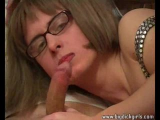 Sofa sex with a crossdresser in glasses
