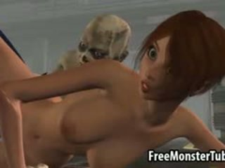 Foxy 3D Brunette Babe Getting Fucked By A Zombie