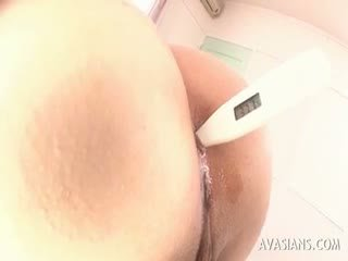 Asian Babe Getting Stimulated Anal With A Rectal Thermometer