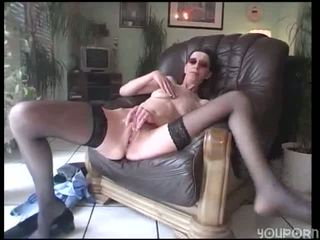 Tall skinny chick gets down by herself clip