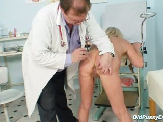 Hot blonde granny bitch gets her hirsute examined