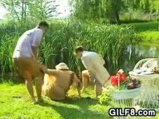 Granny Having Sex A Threesome Outdoors