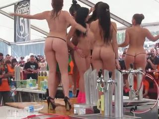 Fully Naked Girls Showing Off For Crowd