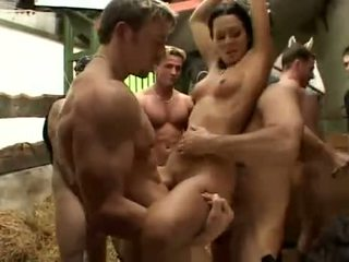 Girls, into gangbang and cum swallowing