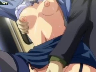 Anime with glasses shows her cunt