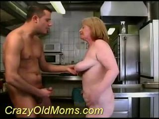 Granny with chocolate pussy