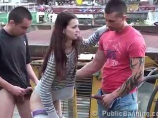 Public sex threesome on bulldozer