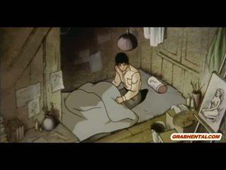 Bondage Japanese whore anime gets wax and hot poked