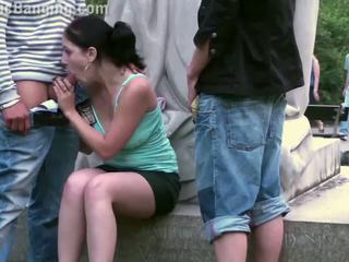 Pretty Teen Girl Public Gangbang in Front of a Famous