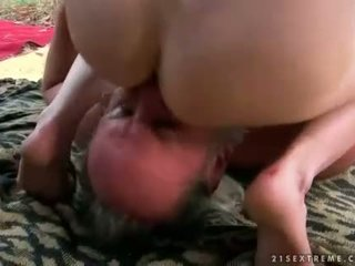 Two grandpas and young brunette pissing and fuckin