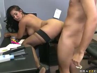 Slutty office girl Isis Love enjoys getting fucked hard by a massive cock behind