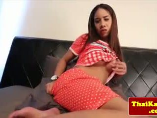 Young thai kathoey rubs her gaping butthole