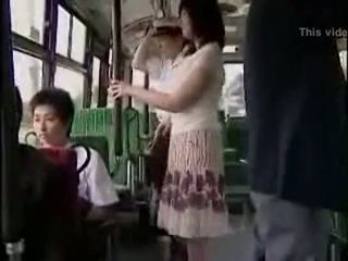 Surprise hanjob on bus with double happy ending