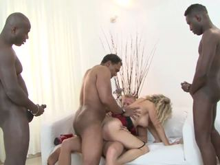 Pretty young holes for three huge cocks
