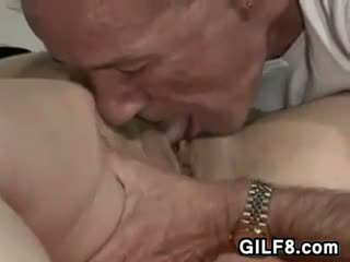 Having Fun Licking That Old Pussy