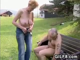 Granny Having Sex Outdoors In Nature