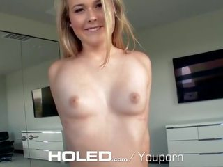 Holed Sexy Blonde Alyssa Cole Shoves Dick in Her Booty Hole