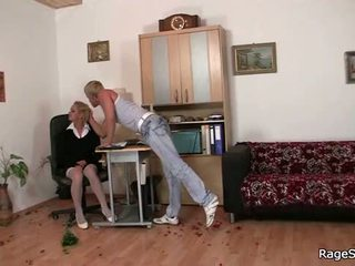 He drills blonde bitch in white stockings