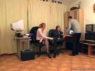 Blonde babe with the glasses having group sex in the office