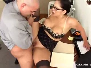 Breasty Office Babe Reina Leone Getting Fucked On Her Cunt And Loves It