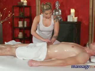 Massage Rooms Juicy bum brunette sucks and rides big cock with passion