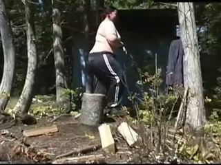 BBW wood cutting Then… pussy time