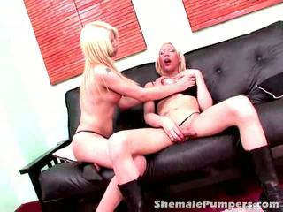 Platinum Blonde Shemale Babes Jimena And Victoria Touching Their Hot Bodies On The Couch
