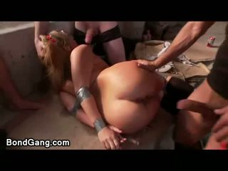 Bdsm blonde in bound duct tape orgy pounded in armory
