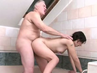 Big old man dick for young and thiny brunette dogie