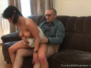 Pretty old teacher is drilling babe doggy style