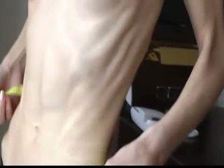 Scrawny skinny babe with anorexia
